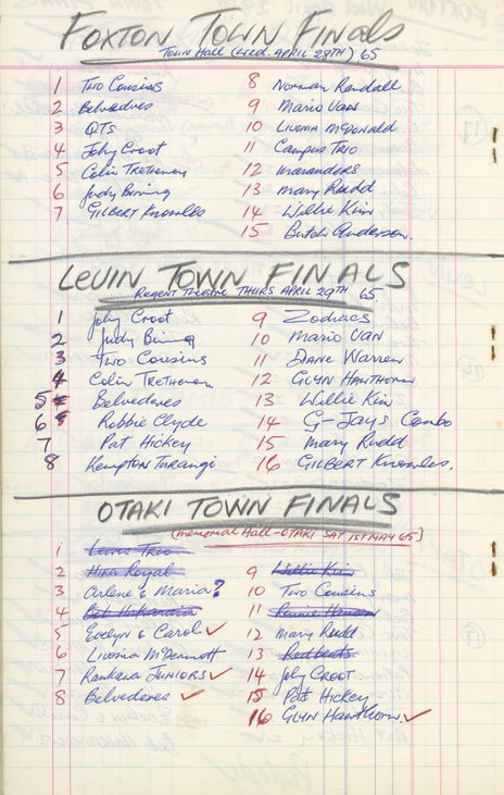 Hero thumb list of some of the finalists for the 100 talent quest  1965. ref  ms papers 11447 21